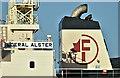 "J3576 : The ""Federal Alster"" (funnel), Belfast harbour (December 2018) by Albert Bridge"