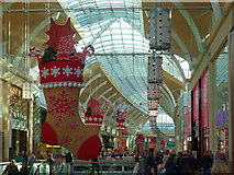 ST1876 : Christmas shoppers and decorations, St David's Centre, Cardiff by Robin Drayton