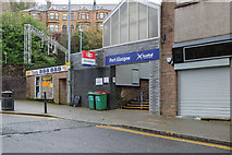 NS3274 : A view of the front entrance to the railway station in Port Glasgow, Inverclyde, Scotland by Garry Cornes