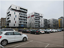 TG2407 : New flats near Carrow Road stadium by Hugh Venables