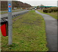ST1599 : National Cycle Network route 468 direction sign, Station Road, Bargoed by Jaggery