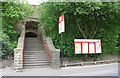 SE0623 : Entrance steps to Sowerby Bridge Station from Holmes Road by Roger Templeman