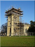 SO8845 : Croome D'Abitot church under scaffolding by Philip Halling
