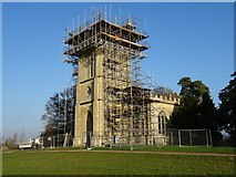 SO8845 : Scaffolding on Croome D'Abitot church by Philip Halling