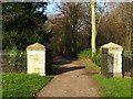 SO8844 : Gate piers in Croome Park by Philip Halling