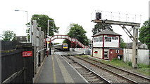 SK8508 : Oakham Railway Station - approaching train by Colin Park