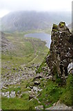 SH6459 : Llyn Idwal from the Devils Kitchen by Colin Cheesman
