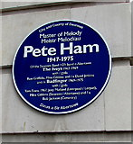 SS6593 : Pete Ham blue plaque on a wall of Swansea railway station by Jaggery