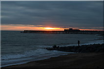TQ8109 : Pelham Beach and Hastings Pier at sunset by Oast House Archive