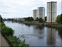 NS3421 : Towerblocks by the River Ayr by Thomas Nugent