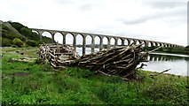 NT9953 : Royal Border Bridge & driftwood boat sculpture, Berwick upon Tweed by Colin Park