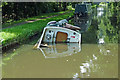 SJ9922 : Sunken boat on the canal near Great Haywood by Roger  Kidd