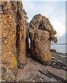 NH6648 : Rock Stacks below Croft Downie by valenta