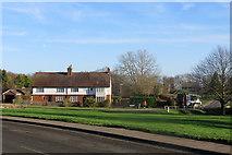 TL3949 : Barrington: bin collection on Challis Green by John Sutton