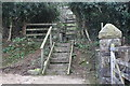 SO2601 : Wooden footpath steps and stile by M J Roscoe