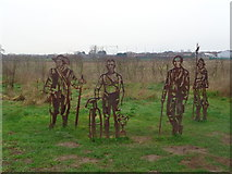 SO8453 : Historic Worcester figures near to the Diglis Footbridge by Jeff Gogarty