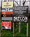 SO0228 : Business name signs at the SW edge of Brecon Enterprise Park by Jaggery