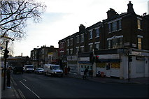 TQ2885 : Looking down Highgate Road towards the railway bridge by Christopher Hilton