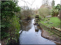 SO9568 : Water wheel on the River Salwarpe, Stoke Pound by Jeff Gogarty