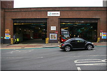 TQ3090 : Bus garage, Wood Green by Christopher Hilton