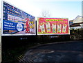 ST1587 : Tesco and McDonald's adverts facing the B4600, Caerphilly by Jaggery