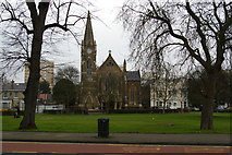 TQ3090 : Wood Green: St Mary's Church, across Trinity Gardens by Christopher Hilton