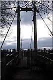 SO5628 : Suspension bridge at Sellack Boat by John Winder