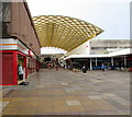 ST2995 : Yellow canopy beyond Iceland, Cwmbran by Jaggery
