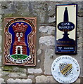 SO9006 : Three signs on a wall of the Bear Inn, Bisley by Jaggery
