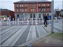 J0407 : Coloured water fountain in Market Square, Dundalk by Eric Jones
