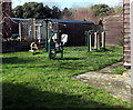 SO8110 : Exercise equipment outside Haresfield Village Hall, Gloucestershire by Jaggery