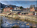 SJ2142 : River Dee and Llangollen Railway Station by David Dixon