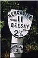 NZ1275 : Old Milepost by the A696, Milbourne, Ponteland Parish by IA Davison