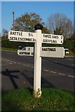 TQ8115 : Old Direction Sign - Signpost by the A28, Main Road, Westfield by Milestone Society