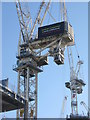 NT2574 : Tower Cranes at St James' Centre by M J Richardson