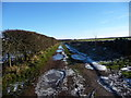 NY5832 : Icy puddles on the track to Appleside Hill by Christine Johnstone