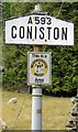 SD3097 : Old Village Signpost by the A593, Coniston Parish by Milestone Society