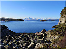 NG7527 : Stony beach on the Plock of Kyle by Julian Paren