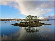 NG8133 : Coastal island by Duncraig Station by Julian Paren