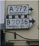 TQ3024 : Old Direction Sign - Signpost, High Street, Cuckfield by Milestone Society