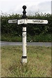 SJ5050 : Old Direction Sign - Signpost by Coach Road, Ashtons-Cross by Milestone Society
