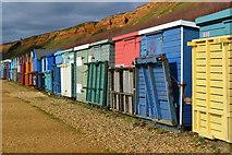 SZ2492 : Beach huts at Barton on Sea by David Martin