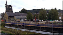 SE0125 : Construction of new flood defence wall near St Michael's Church, Mytholmroyd by Phil Champion