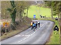 NY9373 : Cycling club on the A6079 by Oliver Dixon