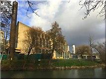 SP7559 : Carlsberg brewery by the Nene by Philip Jeffrey