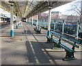 ST3088 : Dark green benches on platform 1, Newport railway station by Jaggery
