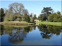 SO8744 : Reflections in the lake in Croome Park by Philip Halling