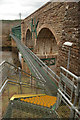 NH5795 : Steel Steps and Walkway at Invershin Viaduct, Scottish Highlands by Andrew Tryon