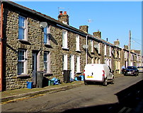 SO0503 : Row of stone houses, Nightingale Street, Abercanaid by Jaggery