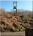 SO0702 : Line spur pole on a bank in Troedyrhiw by Jaggery